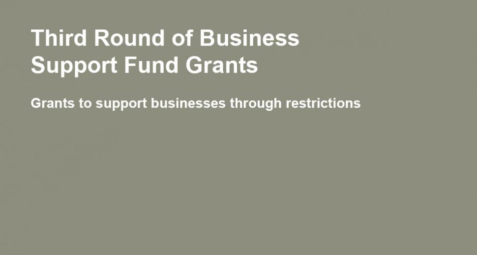 Third Round of Business Support Fund Grants